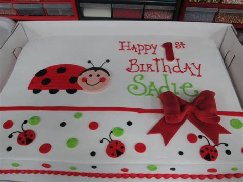 ladybug bow birthday sheet cake sugarshackscia for the