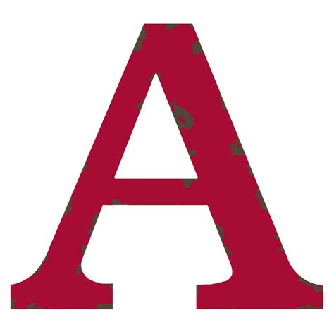 Distressed Red Letter A, 12in  At Home