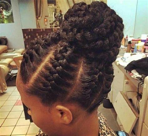 beach protective natural hairstyle braided bun natural