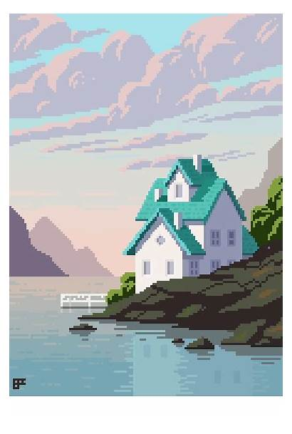 Pixel Lake Landscape 8bit Near Games Noob