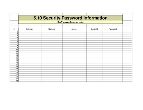 password spreadsheet template spreadsheet templates for