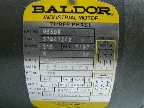 Electric Motor Specs by Baldor 5 Hp Electric Motor 208 230 460v 1725 Rpm M3308 Ebay