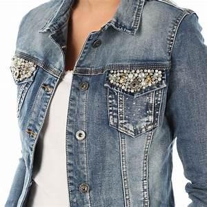 Jeans Mit Strass Und Perlen : details zu fashion damen jeans jacke jeansjacke perlen nieten bestickte taschen denim blau ~ Frokenaadalensverden.com Haus und Dekorationen