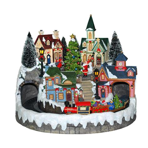animated light  christmas village scene houses