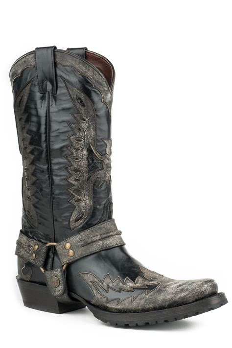 mens black leather biker boots stetson outlaw eagle biker mens black leather distressed