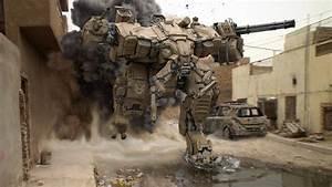 future war robots street smoke pools ruins HD wallpaper