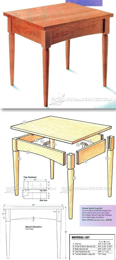 shaker bench plans furniture plans  projects