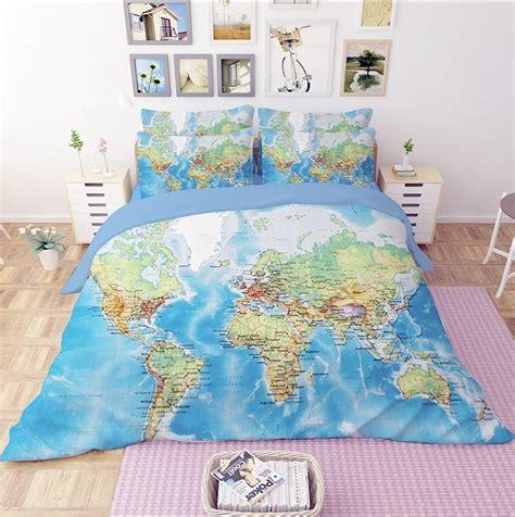 world map duvet cover world map scenery duvet cover set bedding 1658