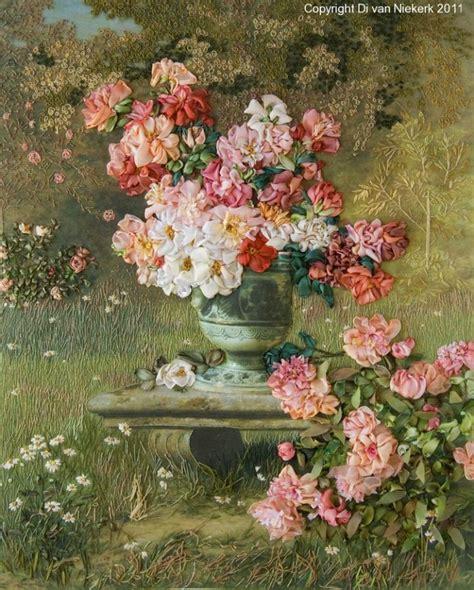 beautiful roses  ribbon embroidery   van niekerk