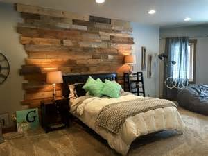 Nice Bar Stools by Staggered Barnwood Wall Rustic Bedroom By Reclaim Renew