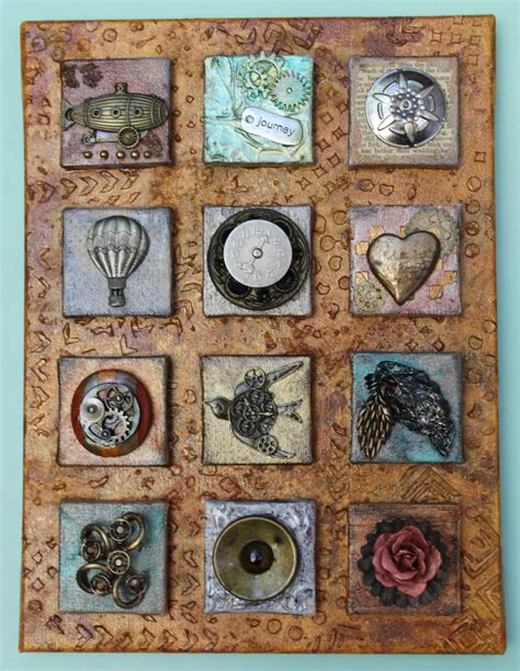 steampunk  object collage  mini canvases