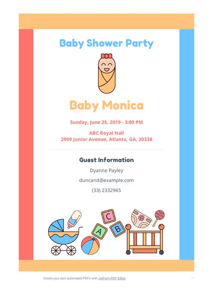 Baby Shower Invitation TemplateTemplates JotForm