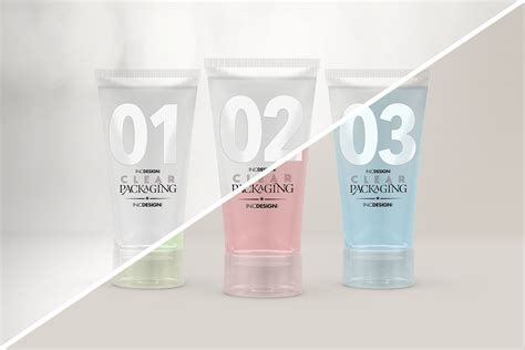 ✓ free for commercial use ✓ high quality images. 化妆品包装素材样机模板展示效果图 Clear Cosmetic Tube Mockups-设计石代
