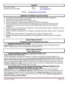 resume of hotel management hotel manager resume berathen