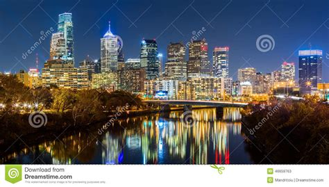 River Deck In Philly by Philadelphia Cityscape Panorama By Stock Photo