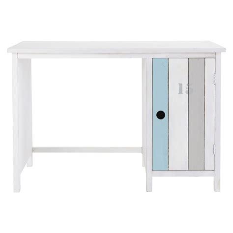 bureau bois blanc bureau en bois blanc l 110 cm océan maisons du monde