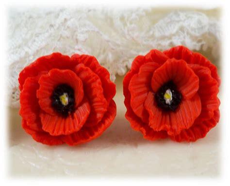 red poppy stud earrings red poppy clip  earrings