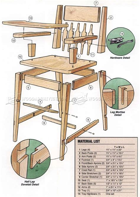 high chair plans woodarchivist