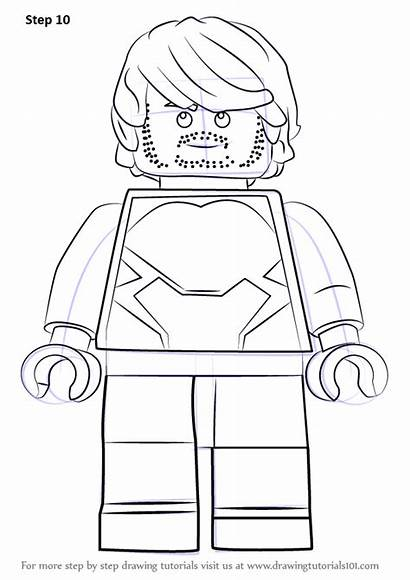 Lego Quicksilver Draw Coloring Drawing Step Template