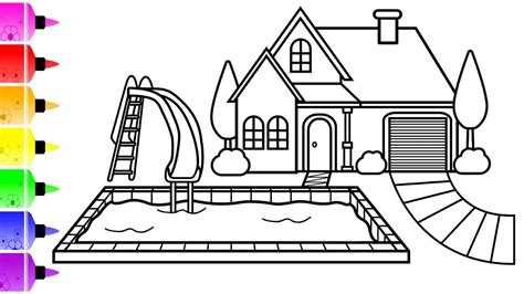 draw  house  pool coloring page coloring
