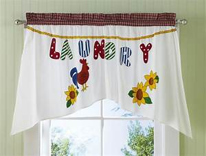 Country rooster sunflowers laundry room window curtain for Country laundry room curtains