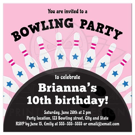 Bowling birthday party invite for girls pins standing on