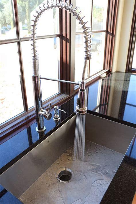 spring faucet, single tub stainless steel sink, vigo