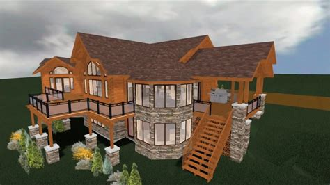 More 3d Home Walkthroughs by Log Home 3d Walkthrough With Free Floor Plans