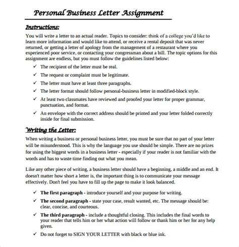 personal business letter    documents