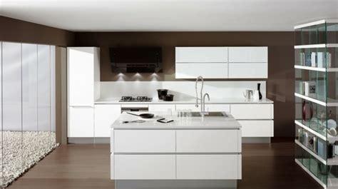 cuisine blanc laque avec ilot cuisine îlot central 25 propositions modernes