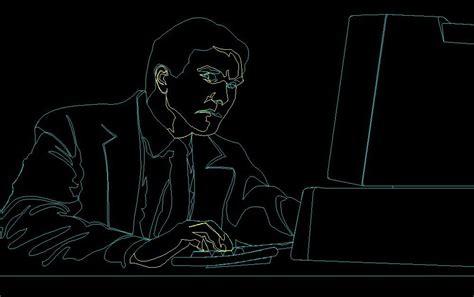 man sitting   desk  computer human figure side view
