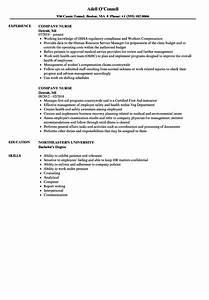 Company Nurse Resume Samples