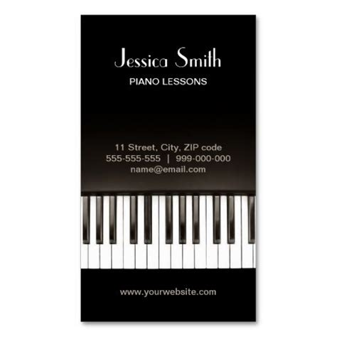 piano business card template piano lessons business card zazzle