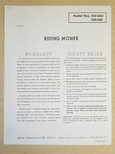 Vintage Mtd Riding Mower Owners Manual Parts List   130