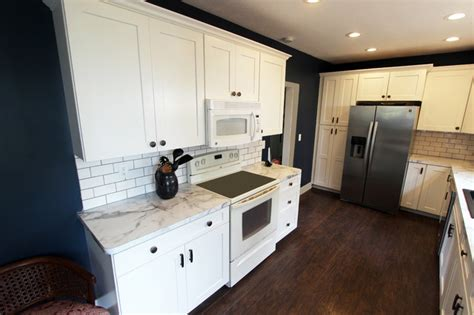 White Laminate Countertops by White Kitchen With Marble Look Laminate Countertop Akron