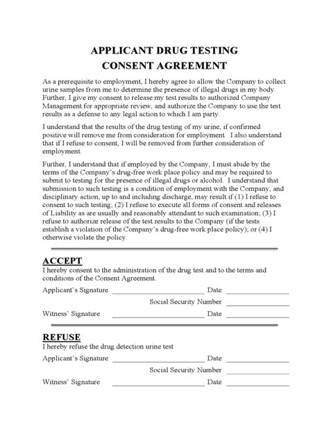drug test consent form   templates   word