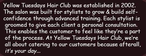 Yellow Tuesdays Hair Club