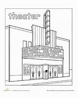 Town Coloring Theater Places Paint Pages Worksheet Education Worksheets Preschool Around Drawing Kindergarten Theatre Community Building Child Take Without Him sketch template