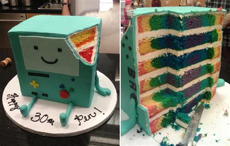 rainbows    adventure time bmo cake geekologie