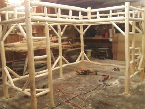 shaped twintwin log loft bed frame