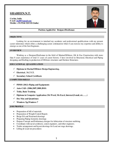 Civil Structural Draftsman Resume by Structural Designer Draftsman Offshore And Gas