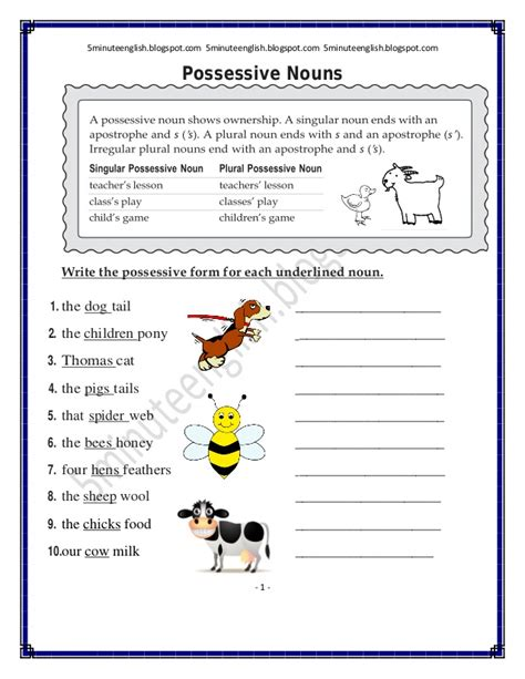 possessive nouns worksheet answers 5minuteenglish