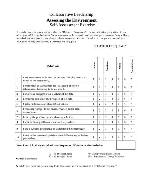 sample leadership  assessment templates