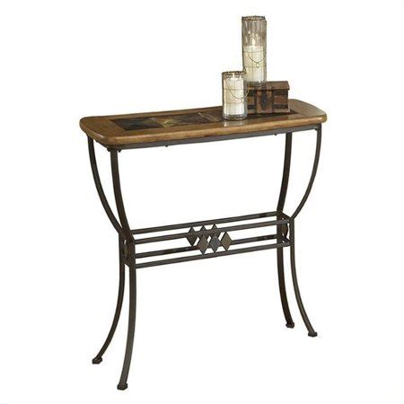 slate top sofa table hillsdale lakeview slate top console sofa table in brown and medium oak walmart