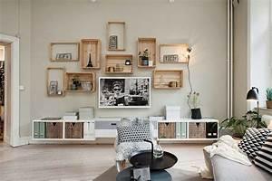 Deco Mural Salon : id e d co salon rangement ~ Teatrodelosmanantiales.com Idées de Décoration