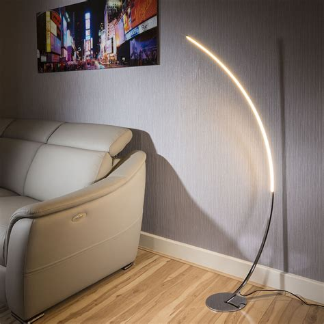 beautiful modern polished chrome led curved floor l dimable ebay