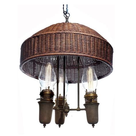 Wicker Chandelier L Shades by Large Arts And Crafts Wicker Shade Chandelier At 1stdibs