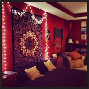 My hippy room complete with records and twinkle lights ...