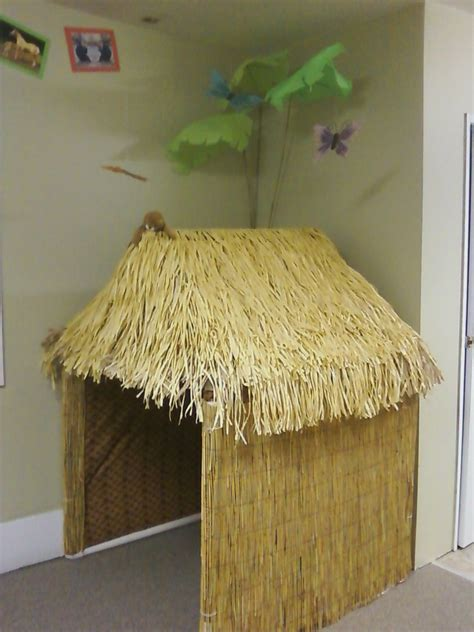 Grass Hut Roof by Grass Hut Cardboard With Roof Made From Faux Grass