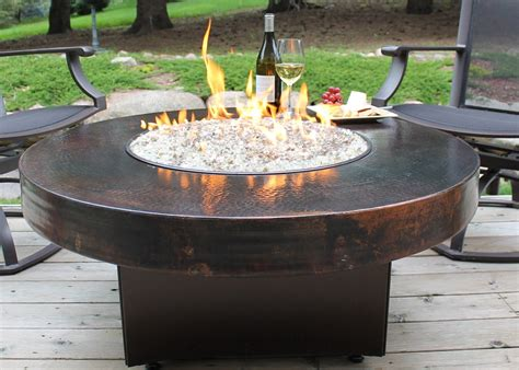 round gas fire table hammered copper 42 quot round oriflamme fire table gas fire